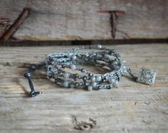Beaded Crochet Jewelry Beaded Wrap Bracelet Boho by BeadnFarm