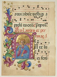 Belbello da Pavia  Lombard, active c. 1430 - c. 1473  Initial A: A Young Christ Blessing, Venice, 1467 - 1470  leaf from an antiphonal  Initial: 18 x 15.5 cm (7 1/16 x 6 1/8 in.)