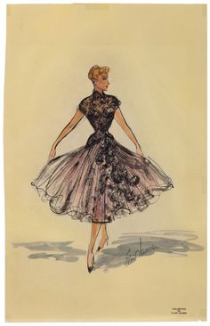 """Original Elois Jenssen costume sketch of Lucille Ball for I Love Lucy. (Desilu, 1951 - 1957) The sketch is accomplished in ink and gouache on 11.5 x 8.25 artist paper leaf. Sketch features an elegant, sheer black gown with glamorous applique' bodice, rose-tinted underlining and crinoline petticoat. This gown was worn by Lucy in episodes: """"Hollywood Anniversary"""" and """"Lucy Goes to Monte Carlo"""". This dress is also worn by Lucy on the US postage stamp made in her honor."""