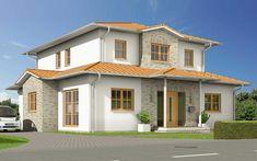 Häuser mit mediterranem Flair - Für den Haustyp VarioToscana haben sich unsere Architekten von der klassischen Architektur Norditaliens inspirieren lassen. Dieser elegante, repräsentative Baustil wird geprägt von in warmen Naturtönen gestalteten Fassaden mit den typischen farbigen Fensterumrandungen, Balkonen, Säulenelementen und überdachten Terrassen. Charakteristisch auch die flach geneigten Zeltdachformen mit großen, schattenspendenden Überständen. Bodentiefe Fensterelemente und eine… Style At Home, Mansions, House Styles, Home Decor, Roof Styles, Open Floor Plans, Classic Architecture, Mediterranean Homes, Decoration Home