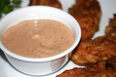 The sauce from Raisin Canes restaurant, also similar to a few other chicken finger restaurants (like Guthries.)  I looked at tons of websites, and combined recipes until it tasted the same to me.  This makes enough for 2-3 people to dip chicken, texas toast,  and fries in.
