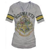Hogwarts Crest Athletic V-Neck Gray T-Shirt