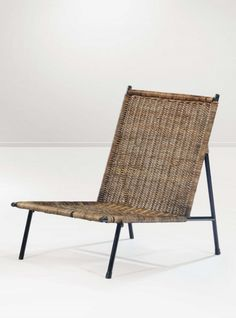 Franco Campo and Carlo Graffi; Enameled Metal and Wicker Lounge Chair for Home, c1960.