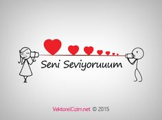 Vektörel Çizim | 14 Şubat Sevgililer Günü, Seni Seviyorum Cute Love, I Love You, My Love, Valentine Day Crafts, Valentines, Love Your Hair, Craft Box, Stick Figures, Sweet Words
