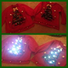 DIY Ugly Christmas Sweater.  Cost $10 total.  Made with a sweater from the Goodwill and accessories from the Dollar Store.  Green thick Garland, bows, battery operated lights, tiny gold garland, little Christmas balls, jingle bells, small red garland and small Christmas packages.  Everything put on with a hot glue gun.