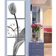 Contemporary Style Botanical Canvas Wall Clock in 3pcs | LightInTheBox