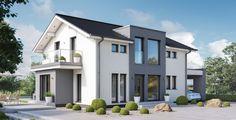 Einfamilienhaus modern mit Satteldach - Haus Concept-M 167 Bien Zenker - Fertighaus bauen moderne Architektur mit Carport Fassade Putz grau weiß - HausbauDirekt.de