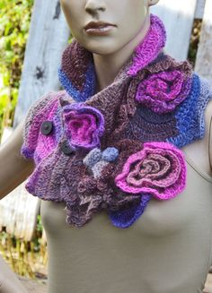Unique crochet scarf Capelet / Neck Warmer / Freeform by Degra2
