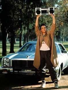 Say Anything <3 Lloyd Dobbler (John Cusack) with his 1976 Chevy Malibu - Own this movie and shirt! Love it