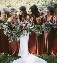 Luxe Velvet bridesmaids dresses! These stunning gowns by Jenny Yoo in this rustic shade called English Rose is the perfect autumn / fall bridal party look. The long Ellis dress is a soft A line silhoutte with a chic plunging V neck in our luxurious, comfo Wedding Ceremony Ideas, Winter Wedding Receptions, Wedding Photos, Fall Wedding, Dream Wedding, Perfect Wedding, Gothic Wedding, Wedding Tips, Wedding Hair