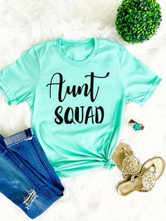 Aunt Squad, Blessed Auntie, Auntie Shirt, Aunt Shirt, Family Shirt, Auntie Squad, Christmas Gift, Aunt Life, Pregnancy Announcement by GNDYCollection  21.99 USD  Aunt Squad Shirt Proud Tee. This i