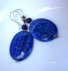 Blue Lapis Statement Drop Earrings on Sterling Silver. Large Dangle Earrings. Modern Chandelier Beadwork.