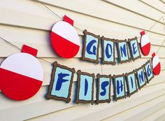 Welcome to Pelican Party Designs! _______________________________________ This Gone Fishing banner is perfect for a birthday party or retirement party alike! Our banners are made from premium cardstock and arrive pre-strung and ready to hang! Each pennant is 6.5 tall and 5.5 wide. The bobbers are 8 tall by 7 wide. Other matching decorations available! Feel free to contact us for additional information.