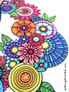 The World's most recently posted photos of colorful and zentangle Doodle Coloring, Mandala Coloring, Coloring Books, Coloring Pages, Colouring, Tangle Doodle, Doodles Zentangles, Doodle Art, Doodle Patterns