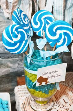 Sensationally Sweet Events 's Baby Shower / pale green and blue baby zoo animals - Photo Gallery at Catch My Party Baby Zoo Animals, Jelly Beans, Baby Shower Parties, Baby Blue, Birthday Candles, Lime, Lollipops, Sweet, Party