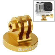 PULUZ CNC Camcorder Tripod Mount Adapter for GoPro HERO4 /3  /3 /2, Xiaomi Yi, SJ4000, SJ5000, SJ6000(Gold)
