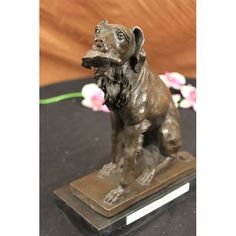 ON SALE !!! Bronze Statue Dog Hunting Bird English Irish Setter Art...The Hunting Dog, Amidst The Fog Of An Early Morn, Sits With A Nice Bird In His Mouth, With A Quizzical Look On Its Face. He Continues To Want To Hunt For More Food, Despite The Mouthful He Already Has Retrieved. The Dog Was Cast Using The Archaic Method Of Lost-Wax Casting And Stained With A Brown Patina Finish For Perpetuation. The Bronze Sculpture Was Rests Upon A Black Marble Base With The Artist E. Truffot