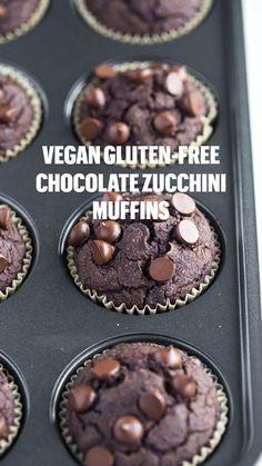 Healthy Chocolate Desserts, Chocolate Zucchini Muffins, Gluten Free Chocolate, Vegan Sweets, Vegan Chocolate, Vegan Desserts, Healthy Desserts, Healthy Muffins, Vegan Food