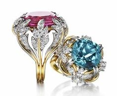 Jean Schlumberger blue indicolite ring & rubellite ring