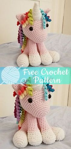 Amigurumi Crochet Unicorn [CROCHET FREE PATTERNS] I hope you have enjoyed this beautiful crochet, the free pattern is HERE so you can make a beautiful crochet. Crochet Diy, Beau Crochet, Crochet Mignon, Crochet Simple, Crochet For Kids, Crochet Tops, Crochet Braids, Crochet Unicorn Pattern Free, Crochet Amigurumi Free Patterns