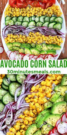 Avocado Corn Salad is healthy, light, and has a nice creaminess thanks to the avocado. #avocadocornsalad #salad #corn #sidedish #30minutesmeals