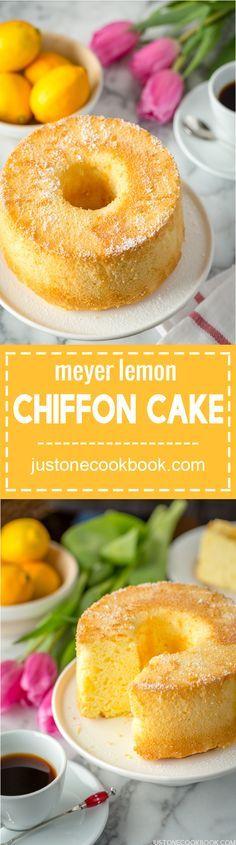 Meyer Lemon Chiffon Cake | Easy Japanese Recipes at http://JustOneCookbook.com