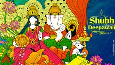 illustration of Goddess Lakshmi and Lord Ganesha on happy Holiday doodle background for light festival of India with message Shubh Diwali meaning Happy Diwali Poster