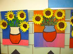 "More of the wonderful clay relief, Van Gogh, ""Sunflowers"", gr. 5"