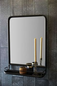 Black Wall Mirror With Shelf More