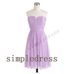 Short Lavender Chiffon Bridesmaid Dress