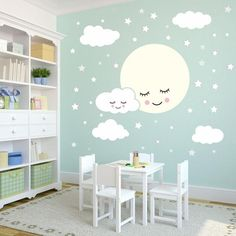 Full Moon With Clouds Stars Wall Decal Kids Nursery Rooms Removable Wall Sticekrs Vinyl Baby Children's Room Wall Decor Kids Wall Decor, Baby Room Decor, Nursery Room, Bedroom Wall, Moon Nursery, Kids Room Wall Decals, Baby Room Diy, Room Wall Painting, Kids Room Paint