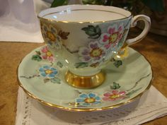 Antique Tuscan Mint Green/Floral Tea Cup & Saucer, hand painted, England, 1947 on Etsy, $22.00
