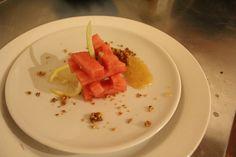 Tagliata di anguria con marmellata al limone Tognazza