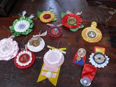 Re-purposed horse show ribbons - now beautiful holiday or anytime ornaments