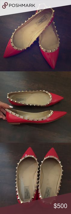 Rockstud flats VALENTINO40.5 (fits a size 9/9.5 best) red patent leather pointy flats with a nude strip & studs atop of the strip all around each shoepreowned but good condition; shows some signs of wear including light scuffs marks/basic wear & tear✳️these are not new, you are buying preowned designer shoes for a fraction of retail (my bundle discount excludes this item) Valentino Shoes Flats & Loafers