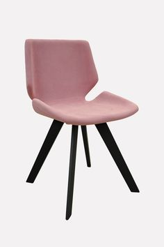 Modern design chair with plywood sea shell, comfortably upholstered with fabric in light pink.