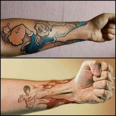 "Popeye and Bruce Lee ""His hand is your hand"" fist tattoo. HOW COOL!"