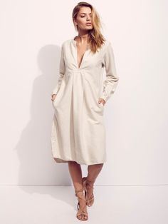 Jackie Dress | Super soft and lightweight tunic midi dress featuring three-quarter length sleeves and a plunging V-neckline. With pleat detailing and hip pockets this is the perfect dress for effortless days. American made.