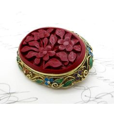 Vintage CHINESE CINNABAR BROOCH Pin Gilt Sterling Silver Enamel Carved... ($70) ❤ liked on Polyvore featuring jewelry and brooches