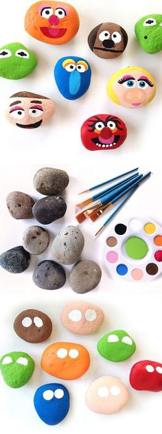 Paint Muppet Rocks | 18 DIY Fathers Day Crafts for Kids to Make | Easy to Make Birthday Gifts for Dad from Kids
