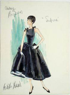 "Costume design by Edith Head for Audrey Hepburn in ""Sabrina"" (1954)"