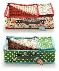 Marlène Suitcase (Flora) and Marlène Suitcase (Green Circles) by Lalé
