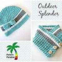 Outdoor Splendor Hat and Cowl by Pattern-Paradise ༺✿ƬⱤღ✿༻ Crochet Bebe, Crochet Baby Hats, Crochet Gifts, Crochet Scarves, Knit Crochet, Free Crochet, Crochet Patterns, Crochet Ideas, Cowl Patterns