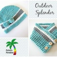 Outdoor Splendor Hat and Cowl by Pattern-Paradise. #crochet #hat #cowl #scarf #pattern