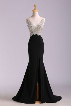 High Quality Crystals Beaded Prom Dress, Sexy Slit
