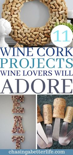 11 Wine Cork Crafts Wine Lovers Will Love These DIY WINE CORK crafts are really great! I'm glad I found these for myself and some great gifts! Now I have some great DIY wine cork crafts for me and for everyone on my list! Wine Craft, Wine Cork Crafts, Wine Bottle Crafts, Crafts With Corks, Wine Cork Wreath, Wine Bottles, Crafts For Teens To Make, Crafts To Sell, Diy Crafts