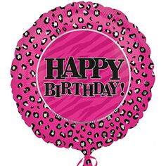 "Pink ""Happy Birthday"" Leopard Print Foil Balloons, 18"""