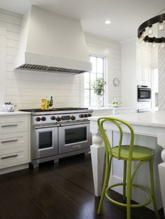 White Kitchen With Pop of Lime