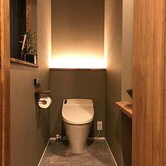 Bathroom/観葉植物/トイレ/アンティーク/間接照明/木製ドア...などのインテリア実例 - 2017-01-09 11:45:17