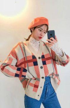 DABAGIRL - V-Neck Buttoned Plaid Cardigan #koreanfashion #koreanstyle #cardigan